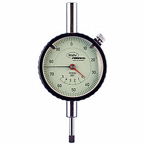 "Continuous Reading Dial Indicator, AGD 2, 2.250"" Dial Size, 0 to 0.500"" Range"