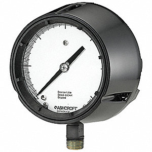 "Pressure Gauge, Process Gauge Type, 0 to 100 psi Range, 4-1/2"" Dial Size"