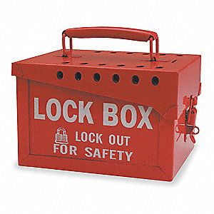 "Red Steel Group Lockout Box, Max. Number of Padlocks: 13, 6"" Height, 7-3/8"" Width"