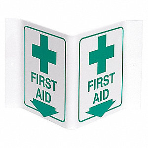 First Aid Sign,6 x 9In,GRN/WHT,First Aid