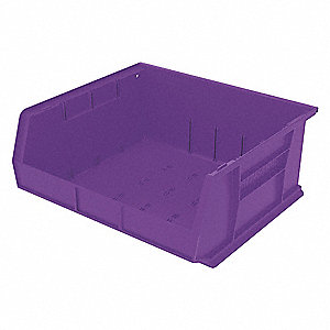 "Hang and Stack Bin, Purple, 14-3/4"" Outside Length, 16-1/2"" Outside Width, 7"" Outside Height"