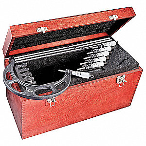 "Outside Micrometer Set, 6 Pc, Micrometers Included: 7, 8, 9, 10, 11, 12"", 6 to 12"" Range, 0.001"" Res"