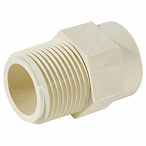 "CPVC Reducing Adapter, CTS, 3/4"" x 1/2"" Pipe Size, MIP x CTS Hub Connection Type"