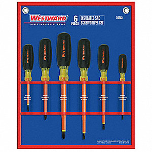 Assorted Insulated Screwdriver Set, Acetate with Vinyl Grip, Number of Pieces: 6