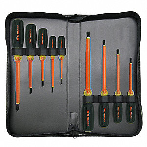 Assorted Insulated Screwdriver Set, Acetate with Vinyl Grip, Number of Pieces: 9