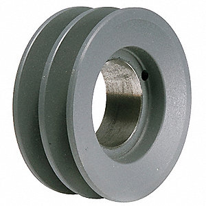 "V-Belt Pulley,Detachable,2Groove,3.35""OD"