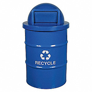 55 gal. Blue Stationary Recycling Container, Swing Door Top