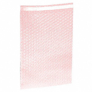 "Pink Color Antistatic Bubble Bags, 15-1/2"" Length, 12"" Width, 3/16"" Bubble Height"