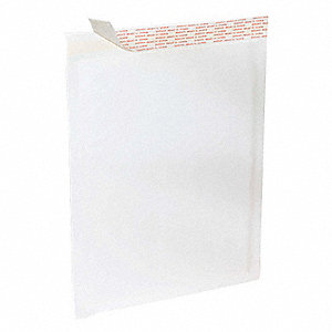 "White Mailer Envelope, Kraft Paper and Polyethylene, Width 10-1/2"", Length 16"", 100 PK"