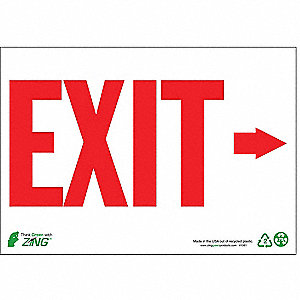 Exit Sign,7 x 10In,R/WHT,Exit,ENG,SURF