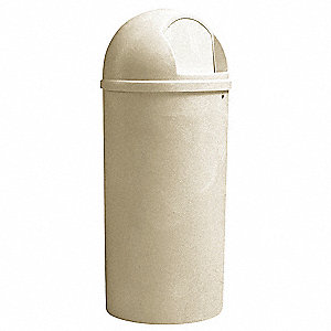 25 gal. Round Beige Side Opening Trash Can