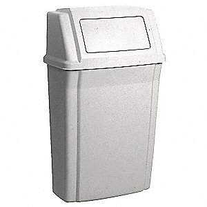 15 gal. Rectangular Beige Side Opening Trash Can
