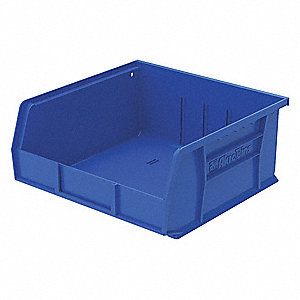 "Hang and Stack Bin, Blue, 10-7/8"" Outside Length, 11"" Outside Width, 5"" Outside Height"