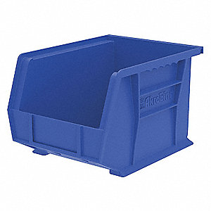 "Hang and Stack Bin, Blue, 10-3/4"" Outside Length, 8-1/4"" Outside Width, 7"" Outside Height"