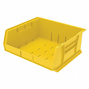 "Hang and Stack Bin, Yellow, 14-3/4"" Outside Length, 16-1/2"" Outside Width, 7"" Outside Height"