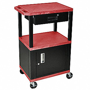 Audio-Visual Cart w/Electric, 200 lb. Load Capacity, Thermoplastic Resin Shelf Material
