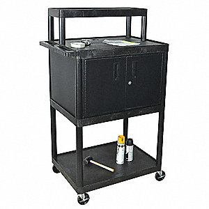 Audio-Visual Cart w/Electric, 400 lb. Load Capacity, High Density Polyethylene Shelf Material