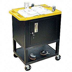 Audio-Visual Cart, 200 lb. Load Capacity, Thermoplastic Resin Shelf Material