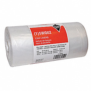 55 gal. Clear Trash Bags, Super Heavy Strength Rating, Coreless Roll, 20 PK