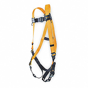 Full Body Harness,Unversl,400lb,Blk/Orng