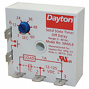 Encapsulated Timer Relay, Function: Off Delay, Status Indicator: None, 1A Contact Amp Rating (Resist