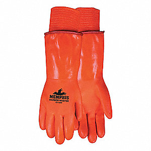 Cold Protection Gloves, Foam/Polar Fleece Lining, Gauntlet Cuff, Hi Viz Orange, L, PR 1