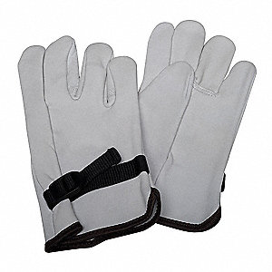 "Electrical Glove Protector, White, Top Grain Goatskin, 10"" Length"
