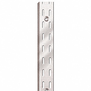 Silver Shelving Standard, Double Slotted, 16 Gauge, Steel, Package Quantity 10