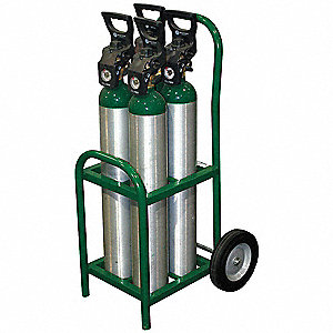 Steel Medical Cylinder Cart, 250 lb. Load Capacity, Semi Pneumatic Wheel Type