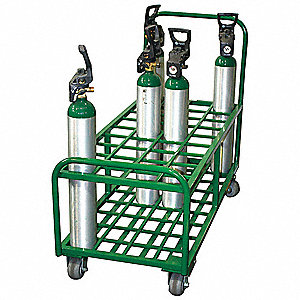 Steel Medical Cylinder Cart, 2400 lb. Load Capacity, (2) Rigid, (2) Swivel Casters Wheel Type
