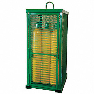 "Green Gas Cylinder Cabinet, 32"" Overall Width, 42"" Overall Depth, 85"" Overall Height, 12 Vertical Cy"