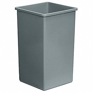 25 gal. Square Gray Open-Top Trash Can