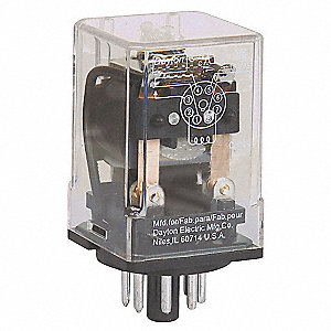 Plug In Relay, 8 Pins, Octal Base Type, 10A @ 277VAC/30VDC Contact Rating, 120VAC Coil Volts