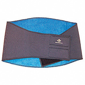 "Gray Nylon Thermal Back Wrap, Back Support Size: L, 10"" Width, Fits Waist Size 35"" to 39"""