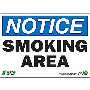 Smoking Area Sign,10 x 14In,Recycled AL