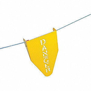 Stamped Steel Warning Flag,11-1/2 In. H