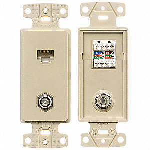 Wall Plate and Jack,Cat 5e/F-Type,Ivory