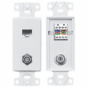Wall Plate and Jack,Cat 5e/F-Type,White