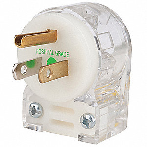 Angle Straight Blade Plug, 15 Amps, 125VAC Voltage, NEMA Configuration: 5-15P, Number of Poles: 2