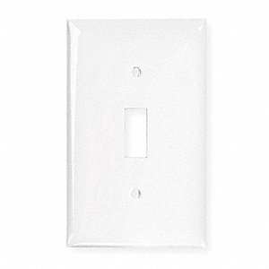 Toggle Switch Wall Plate, White, Number of Gangs: 1, Weather Resistant: No