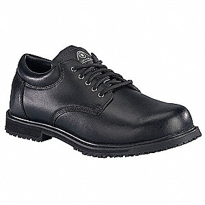 "4""H Men's Work Shoes, Plain Toe Type, Leather Upper Material, Black, Size 7"