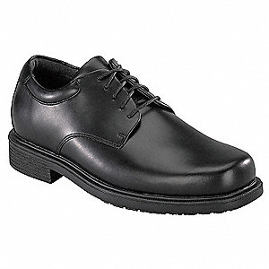 "4""H Men's Work/Dress Shoes, Plain Toe Type, Leather Upper Material, Black, Size 9-1/2"