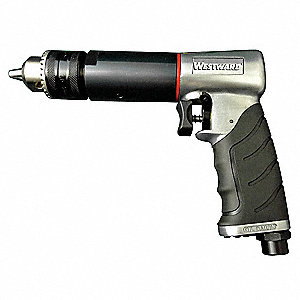 "Light Duty Air Drill, Pistol Style, 1/2"" Chuck Size, 500 rpm Free Speed"