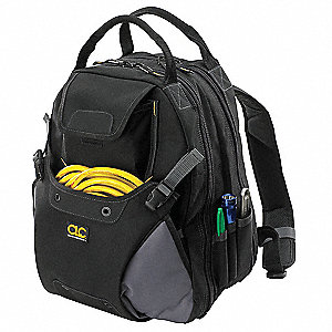 Synthetic Tool Backpack, General Purpose, Number of Pockets: 48, Black