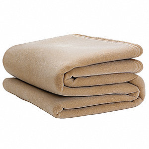 Blanket,Twin,66x90 In.,Tan,PK4