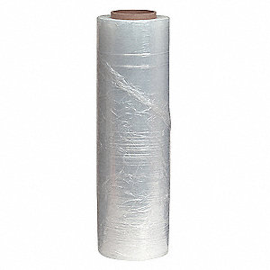 "Hand Stretch Wrap, Clear, 1500 ft. Length, 18"" Width, 80 Gauge"