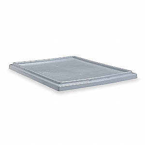 "Nest and Stack Tote Lid, Gray, 18"" Outside Length, 11"" Outside Width, 3/4"" Outside Height"
