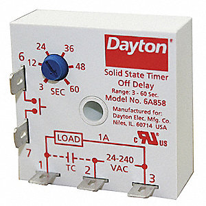 DAYTON Single Function Encapsulated Timing Relay  24 to