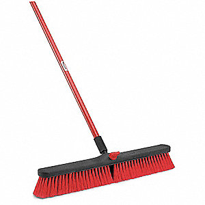 Firm and Flexible Split Tip Recycled PET Push Broom with Handle and Locking Nut, Block Size 24""