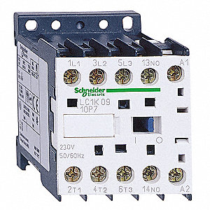 Miniature IEC Magnetic Contactors, 120VAC Coil Volts, 6 Full Load Amps-Inductive, 1NO Auxiliary Cont